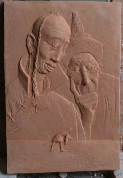 """Relief """"Gulliver´s Reisen"""" nach einer Zeichnung von Hans Baltzer, Ton gebrannt"""